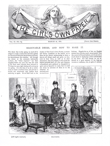 Figure 6 'Practising', in 'Seasonable Dress, and How to Make It', The Girl's Own Paper 2 (26 March 1881): 401 (Lutterworth Press)