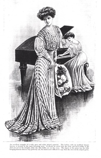 Figure 7'An excellent example of a wide grey and white striped material', in 'How a Girl Should Dress' (Norma), The Girl's Own Paper 28 (29 June 1907): 617 (Lutterworth Press)